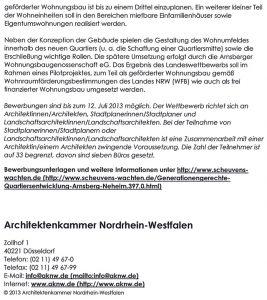 Ankündigung Architektenkammer NRW vom 12.06.2013